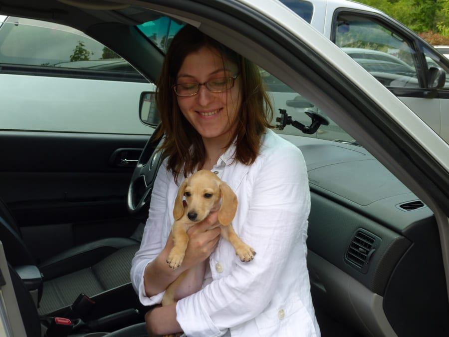 Svetlana holding new puppy
